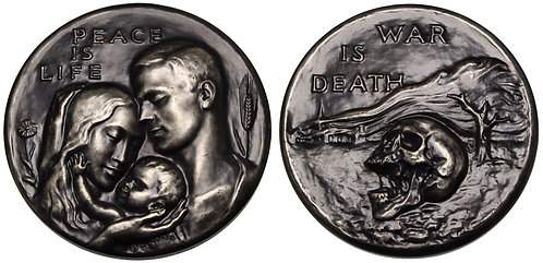 100066  |  UNITED STATES. Peace is Life – War is Death silvered bronze Medal