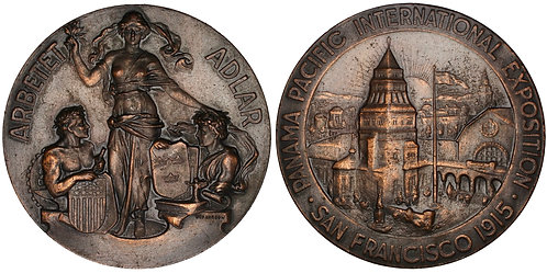 101077     UNITED STATES & SWEDEN. Panama-Pacific Int'l Expo bronze Medal.