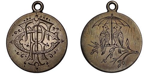 101076  |  UNCERTAIN. Two Birds & Umbrella/C–R–T silver Love Token.
