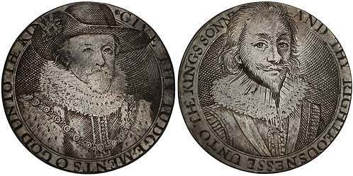 100657  |  GREAT BRITAIN. England. James I with Prince Charles silver Jeton.