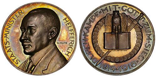 100153  |  GERMANY. Treasury Secretary Karl Helfferich silver Medal.