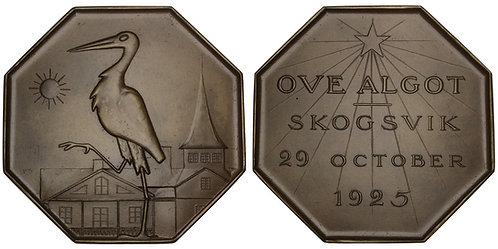 101157     SWEDEN. Stork octagonal bronze Plaque.