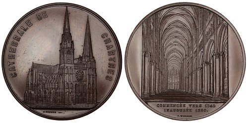 101032  |  FRANCE. Chartres. Chartres Cathedral bronze Medal.
