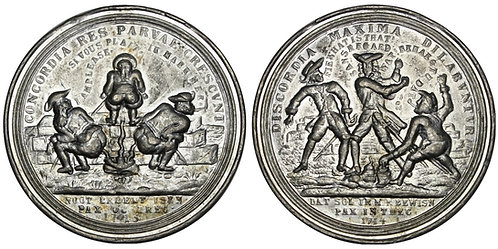 101364  |  GERMANY & WESTERN EUROPE. Peace of Utrecht satirical cast tin Medal.