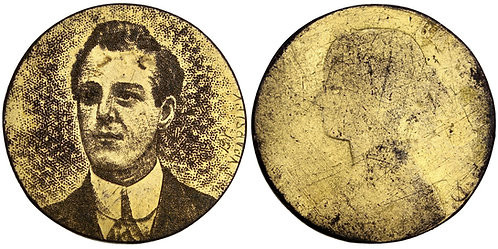 101569  |  GREAT BRITAIN. Stippled male portrait engraved gilt copper Halfpenny.