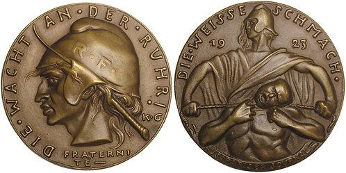 100918     GERMANY & FRANCE. Satirical cast bronze Medal.