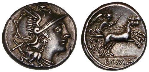 100118  |  ROMAN REPUBLIC. Anonymous silver Denarius.