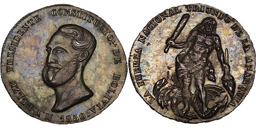 100320     BOLIVIA. Manuel Isidoro Belzu silver Proclamation Medal.