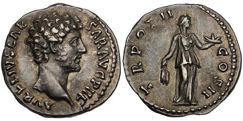 100801  |  ROMAN EMPIRE. Marcus Aurelius as Caesar silver Denarius.
