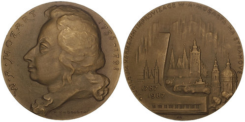 100986  |  AUSTRIA & CZECHOSLOVAKIA. Wolfgang Amadeus Mozart bronze Medal.
