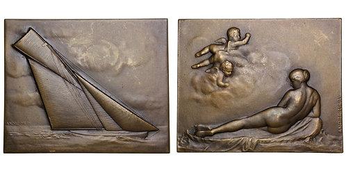 101590  |  FRANCE. Sailing Art Nouveau bronze Plaque.