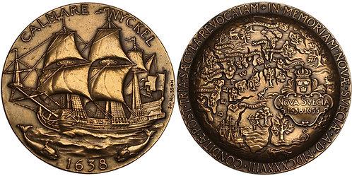 100307  |  UNITED STATES & SWEDEN. New Sweden Founding bronze Medal.