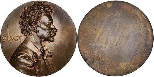 100281  |  AUSTRIA. Johann Strauss II cast uniface bronze Medal.
