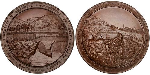 101457     ITALY. Papal States. Tivoli. Gregorian Tunnels bronze Medal.