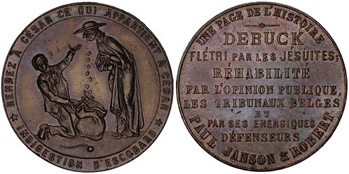 "100849  |  BELGIUM. ""De Buck Affair"" satirical bronze Medal."
