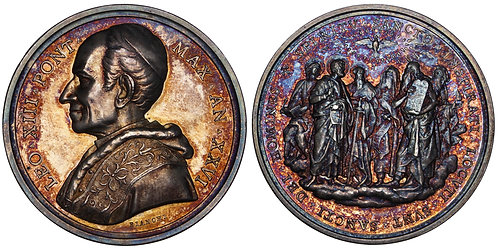 101604  |  ITALY. Prisoner in the Vatican. Pope Leo XIII silver Medal.
