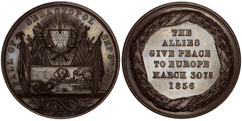 100214  |  GREAT BRITAIN, OTTOMAN EMPIRE & RUSSIA. Treaty of Paris bronze Medal.