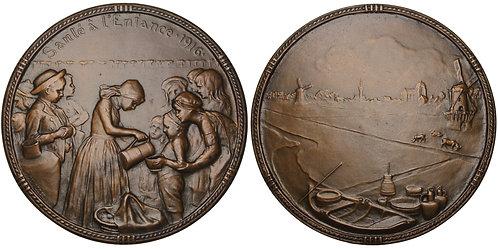 100782  |  BELGIUM. World War I hunger relief bronze Medal.