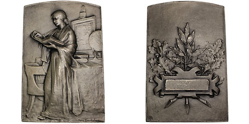 101153  |  FRANCE. Art Nouveau silvered bronze award Plaque.