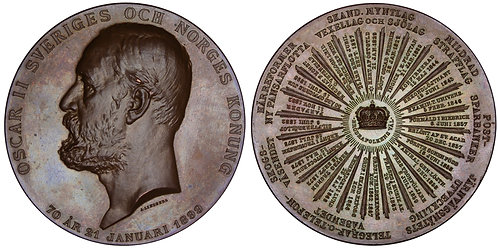 "100850  |  SWEDEN. Oscar II bronze ""Calendar"" Medal."