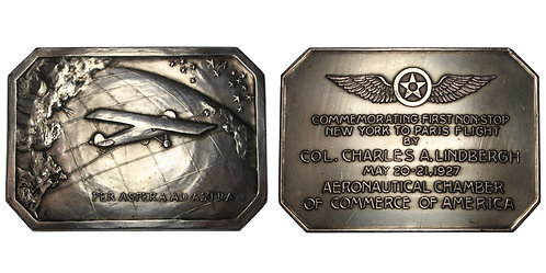 100762  |  UNITED STATES. Charles Lindbergh silvered bronze Plaque.