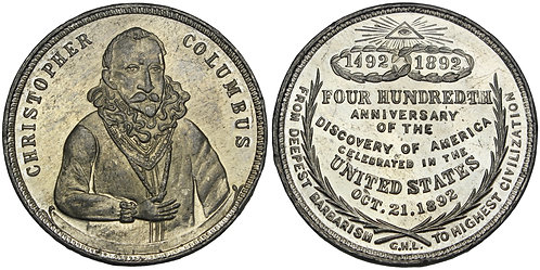 101468  |  UNITED STATES. Christopher Columbus white metal Medal.