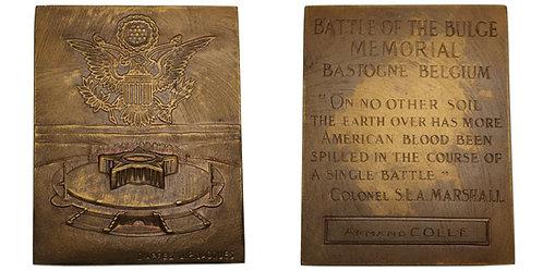 100418  |  UNITED STATES & BELGIUM. Battle of the Bulge bronze Plaque