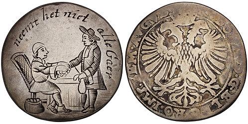100857  |  NETHERLANDS. Dutch Republic. Silver Satirical Token.