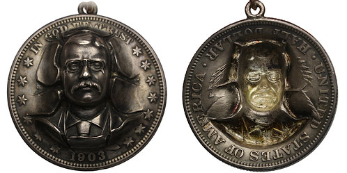 100972  |  UNITED STATES. Theodore Roosevelt silver Repoussé Badge.