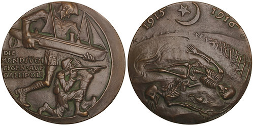 100855     GERMANY & OTTOMAN EMPIRE. Satirical cast bronze Medal.