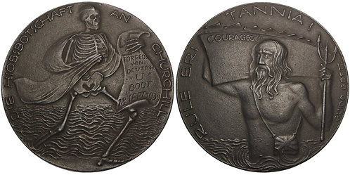 100792  |  GERMANY & GREAT BRITAIN. HMS Courageous satirical cast iron Medal.