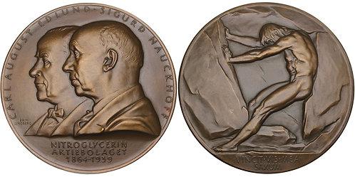 100582  |  SWEDEN. Carl August Edlund & Sigurd Nauckhoff bronze Medal.
