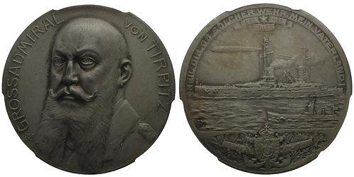 100438  |  GERMANY. Großadmiral von Tirpitz zinc Medal. PCGS SP64.