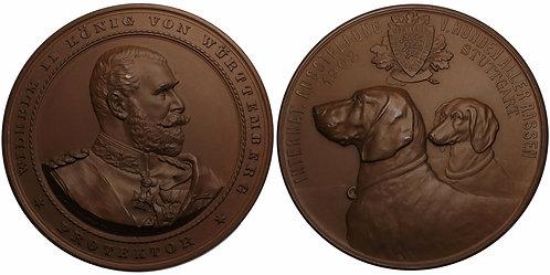 100204  |  GERMANY. Württemberg. Wilhelm II bronze Prize Medal.