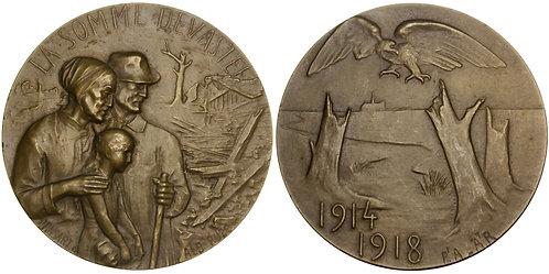 101304  |  FRANCE & GERMANY. Devastation of the Somme bronze Medal.