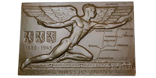 101664     SWEDEN. Railroad uniface bronze Plaque.