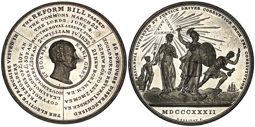 100845  |  GREAT BRITAIN. Reform Bill white metal Medal.