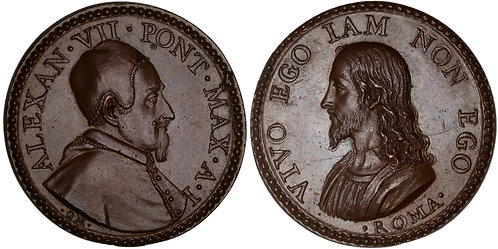100826  |  ITALY. Papal States. Pope Alexander VII bronze Medal.