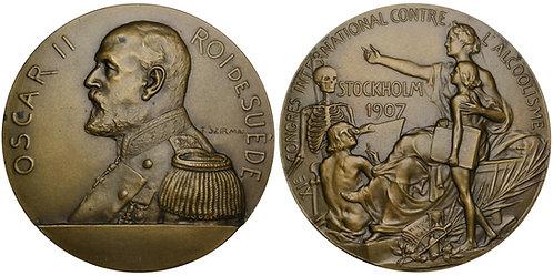 101642  |  SWEDEN. Oscar II/XI Int'l Congress against Alcohol bronze Medal.