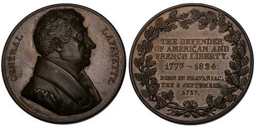 100159  |  UNITED STATES & FRANCE. Marquis de Lafayette bronze Medal.