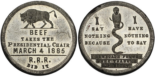 100773  |  UNITED STATES. Grover Cleveland white metal Inaugural Token.