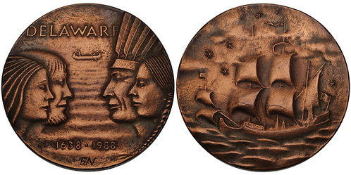 100595  |  UNITED STATES & SWEDEN. New Sweden/Delaware Founding bronze Medal.