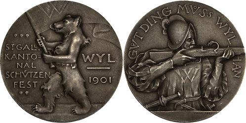 100323     SWITZERLAND. Silver Schützenmedaille (Shooting Medal).