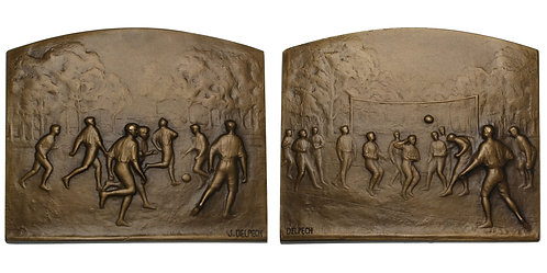 101256  |  FRANCE. Sporting (Soccer/Volleyball) bronze award Plaque.