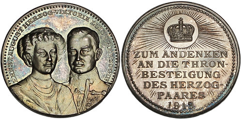 100393     GERMANY. Brunswick. Ernst August with Viktoria Luise silver Medal.
