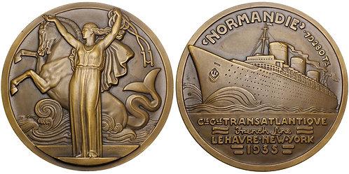 101438  |  FRANCE. Compagnie Générale Transatlantique Art Deco bronze Medal.