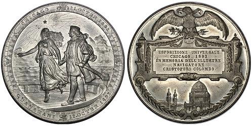 101448  |  UNITED STATES & DENMARK. Christopher Columbus white metal Medal.