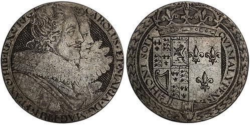 100658  |  GREAT BRITAIN. England. Charles I with Henrietta Maria silver Jeton.