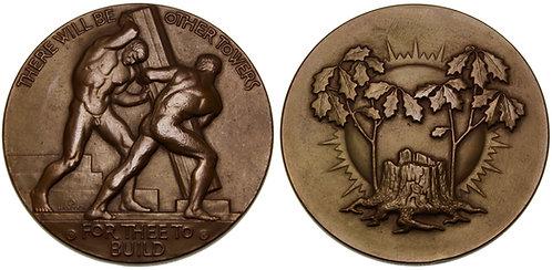 100125  |  UNITED STATES. Two Men Building bronze Medal.