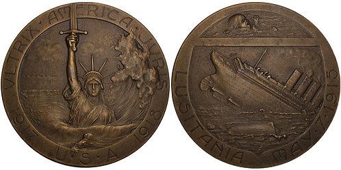 100396  |  UNITED STATES & FRANCE. Lusitania bronze Medal.